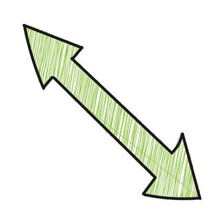 Two-way arrow with hatching. Vector drawing in the Doodle style, isolated on a white background for design and theme design. Çizim