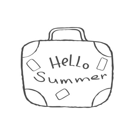 suitcase with the inscription Hello summer. Vector drawing in the Doodle style, isolated on a white background for design and theme design. Çizim