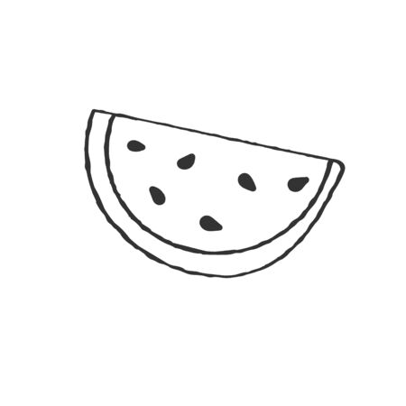 watermelon slice in the Doodle style. Vector drawing in the Doodle style, isolated on a white background for design and theme design.