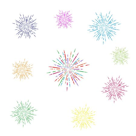 set of colored fireworks. Simple design isolated on a white background