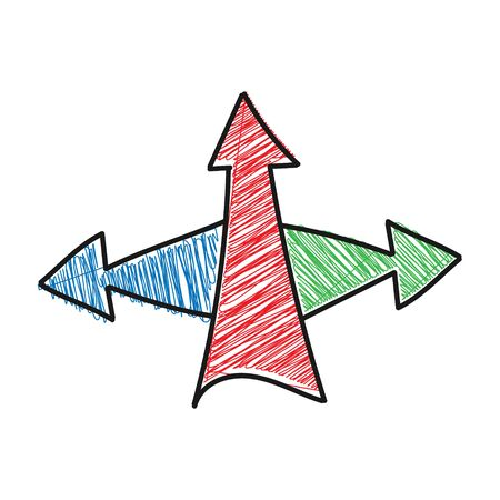 triple shaded color of the arrow. Vector drawing in the Doodle style, isolated on a white background for design and theme design.
