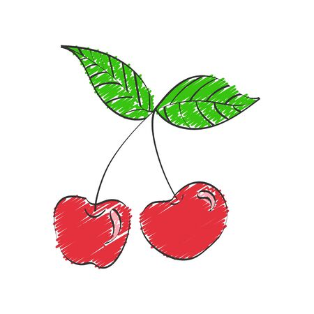Cherry. Vector color hand drawn illustration isolated on a white background for design and theme design