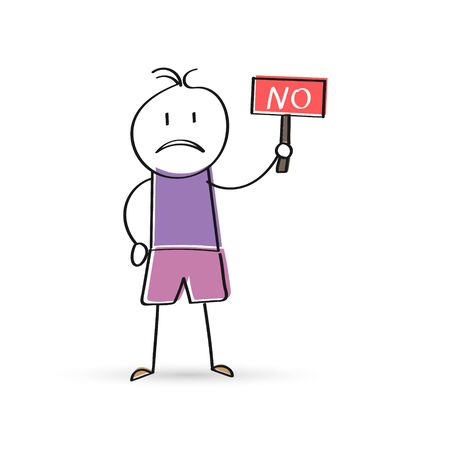 cartoon man holds a sign that says NO. Flat Doodle style for design and decoration
