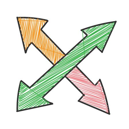 Double intersecting arrow with hatching. Vector drawing in the Doodle style, isolated on a white background for design and theme design. Çizim