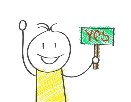 cartoon man holds a sign that says YES. Flat Doodle style for design and decoration Illustration