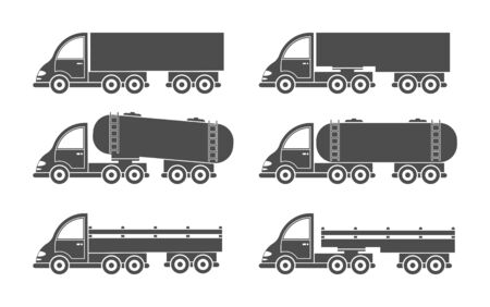 Set of vector truck icon. Simple design, filled silhouette isolated on white background. Design for coloring books, websites, and apps