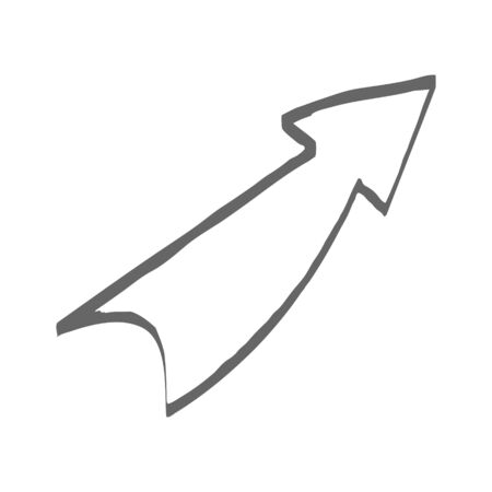 Single arrow. Vector drawing in the Doodle style, isolated on a white background for design and theme design.