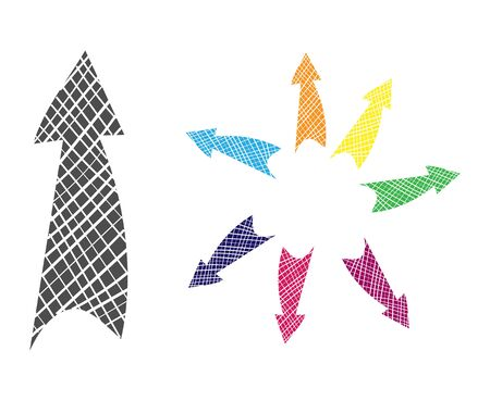 single color arrow set. Vector drawing in the Doodle style, isolated on a white background for design and theme design. Çizim
