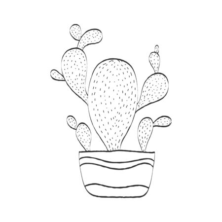 Cactus in a flower pot, empty outline for scrapbooking, coloring books. Vector illustration for theme design. Isolated on a white background. Simple design.