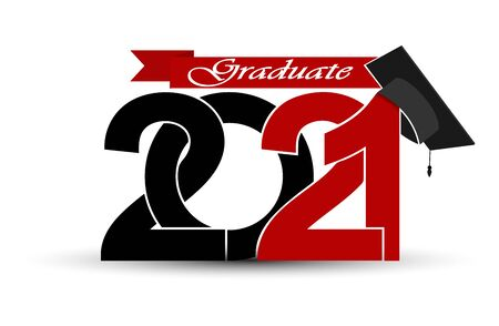 Class and graduates of 2021 with a graduation cap. Vector illustration for design and theme design Illustration