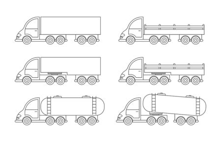 Set of vector truck icon. Simple design, an empty outline isolated on a white background. Design for coloring books, websites, and apps