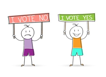 Cartoon men holding signs that read I VONE NO and I vote YES. Flat Doodle style for design and decoration