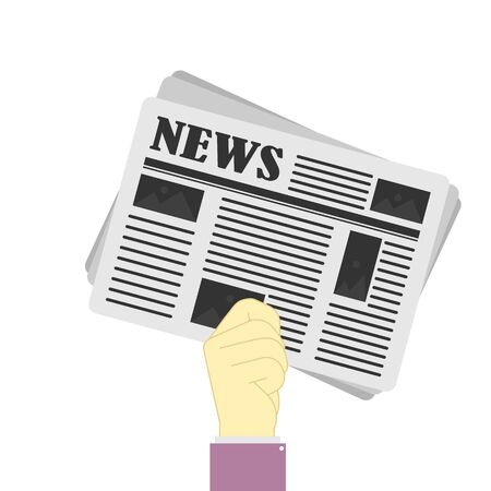 Newspaper in hand. Concept of business news and print media. Simple vector style