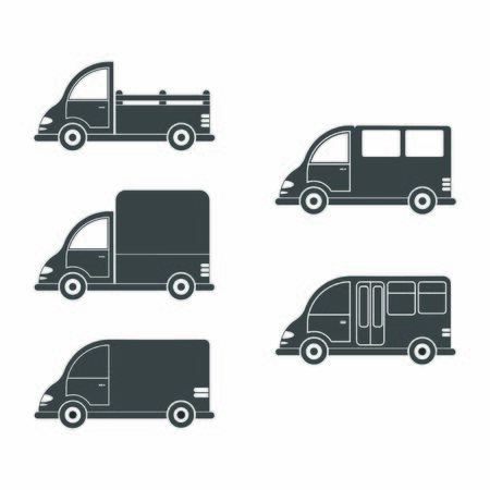 Set vector icon of a car or commercial van. Simple design, filled silhouette isolated on white background. Design for coloring books, websites, and apps Illustration