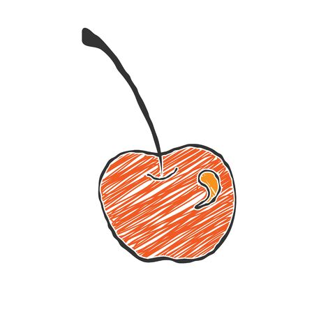 Cherry in the Doodle style. Vector color illustration for the thematic decoration and design. Flat style