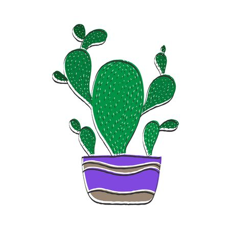 Cactus in a flower pot, Color vector illustration in Doodle style for theme design. Isolated on a white background. Simple design.
