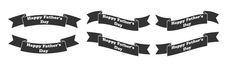 set of ribbons with the inscription happy father's day. Simple design. Flat style isolated on a white background