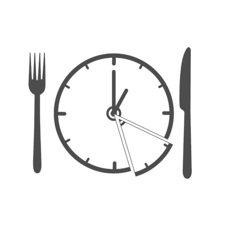 Vector illustration with a clock, fork and knife as a symbol of time for eating. Simple design. Flat style isolated on a white background