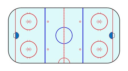 Hockey pitch. Vector illustration of a schematic illustration, flat style Archivio Fotografico - 148400342