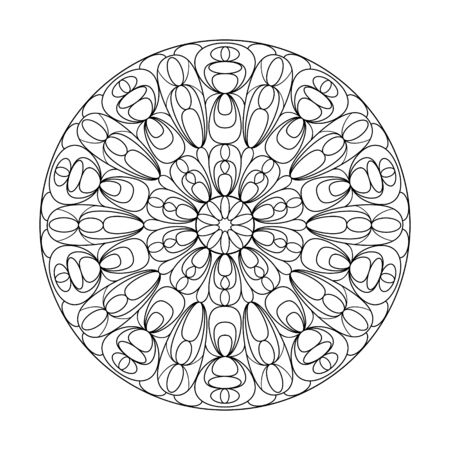 Circular ornament for adult and children's coloring books, scrapbooking or embroidery. Simple Doodle style isolated on white background.