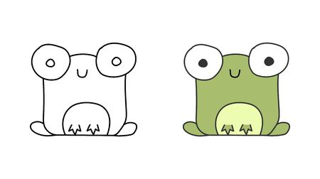 set of abstract images of a frog. Empty silhouette and filled contour for coloring, sticker, theme design and decoration.