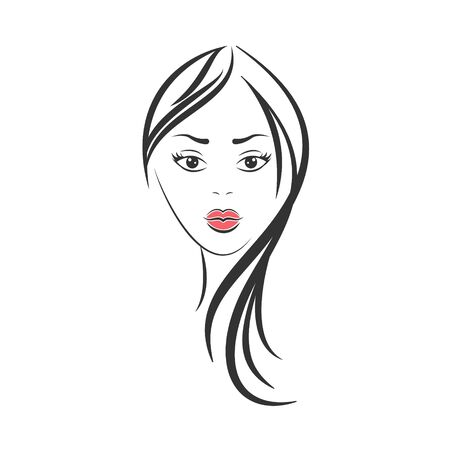 Drawn vector face of a girl isolated on a white background.