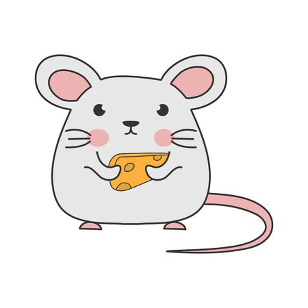 Children's drawing of a mouse with cheese. Simple vector illustration for theme design, isolated on white background