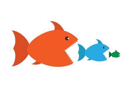 Big fish eat small fish. concept vector illustration for theme design, isolated on white background