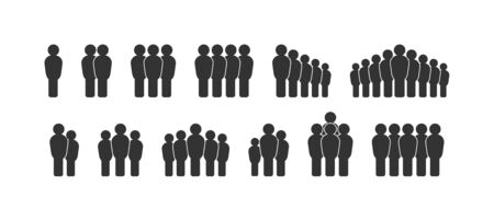 Vector set of people. A collection of web icon silhouettes isolated on a white background, simple, flat design
