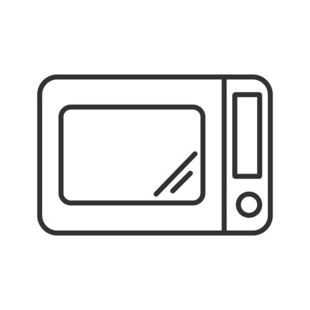 Simple vector icon of microwave oven. Outline illustration isolated on a white background for websites and apps, stickers and stickers