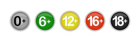 Vector set of color buttons with an age limit for viewing content.