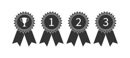 set of icons for prize medals. Simple design isolated on a white background