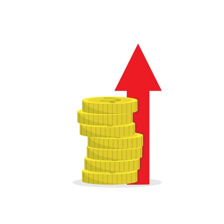 stack of coins with an up arrow. Simple color flat icon isolated on a white background