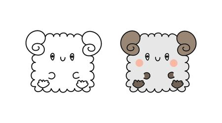Set of cute baby sheep. Vector illustration isolated on a white background for coloring books, scrapbooking, and stickers Illustration