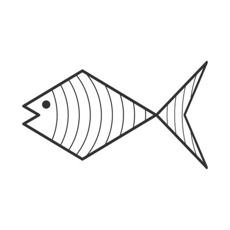 Vector abstract fish illustration for logo and theme design, scrapbooking and coloring book, isolated on white background