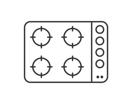 Simple vector icon of a gas or electric stove or cooking surface. Outline illustration isolated on a white background for websites and apps, stickers and stickers