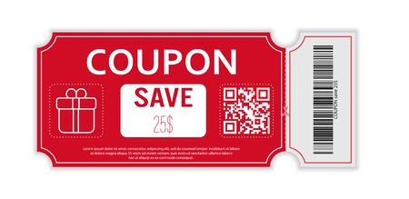 Coupon with real barcode and QR code for 25 percent off sale for stores, trade and business. Simple design