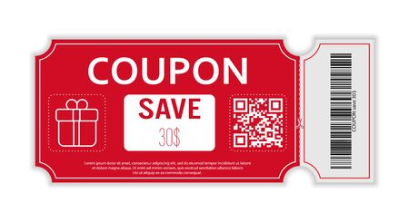 Coupon with real barcode and QR code for 30 percent off sale for stores, trade and business. Simple design 向量圖像