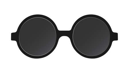 Dark sunglasses with black frames, isolated on a white background