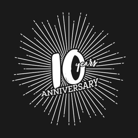 Congratulations on the tenth anniversary. Editable vector illustration. Number 10 on the background of fireworks Çizim