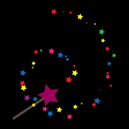 Magic wand. Simple vector icon for thematic design, sites and applications, black background. Çizim