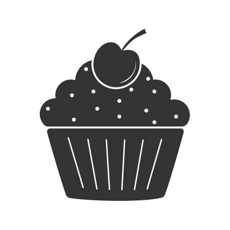 Cherry muffin icon. Simple vector illustration for websites and apps, isolated on a white background