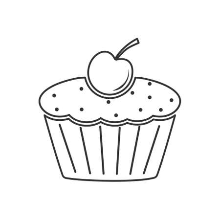 Icon muffin with cherries. Simple vector illustration for websites and apps, an empty outline isolated on a white background Illusztráció