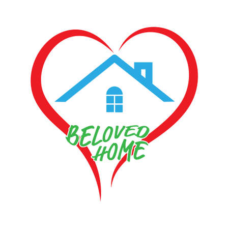 Stylized home and heart icon with the inscription Beloved Home isolated on a white background Çizim