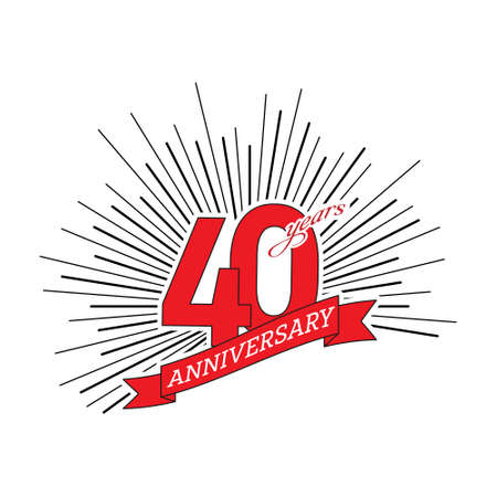 Congratulations on the fortieth anniversary. Editable vector illustration. The number 40 on the background of a salute with a congratulatory red ribbon Çizim