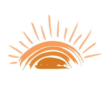 Creative illustration of the sun or an eye with cilia isolated on a white background