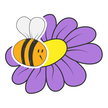 bee on a flower. Beautiful children's vector drawing for theme design isolated on white background