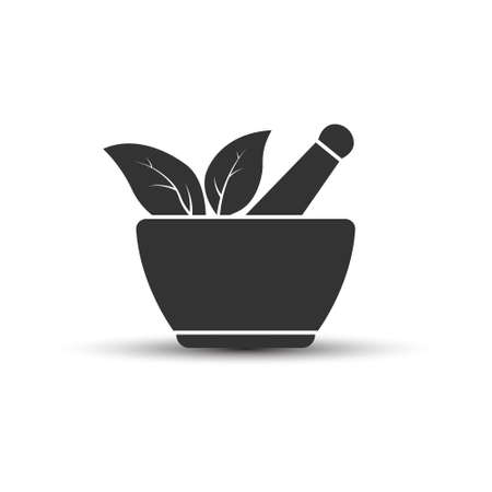 Mortar and leaf. A simple vector icon for illustrating a pharmacy or cooking spices, isolated on a white background. Vector illustration for websites and apps, logo, label or sticker 일러스트
