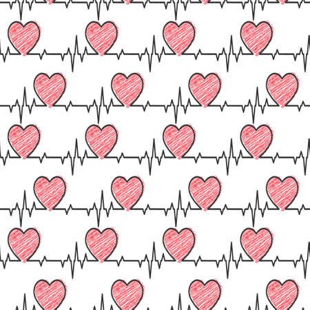 Seamless heart pattern in Doodle style and cardiogram pulses for texture, textiles, simple backgrounds and packaging
