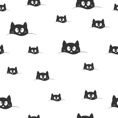 Seamless pattern with cute cat face for texture, textiles, simple backgrounds and packaging